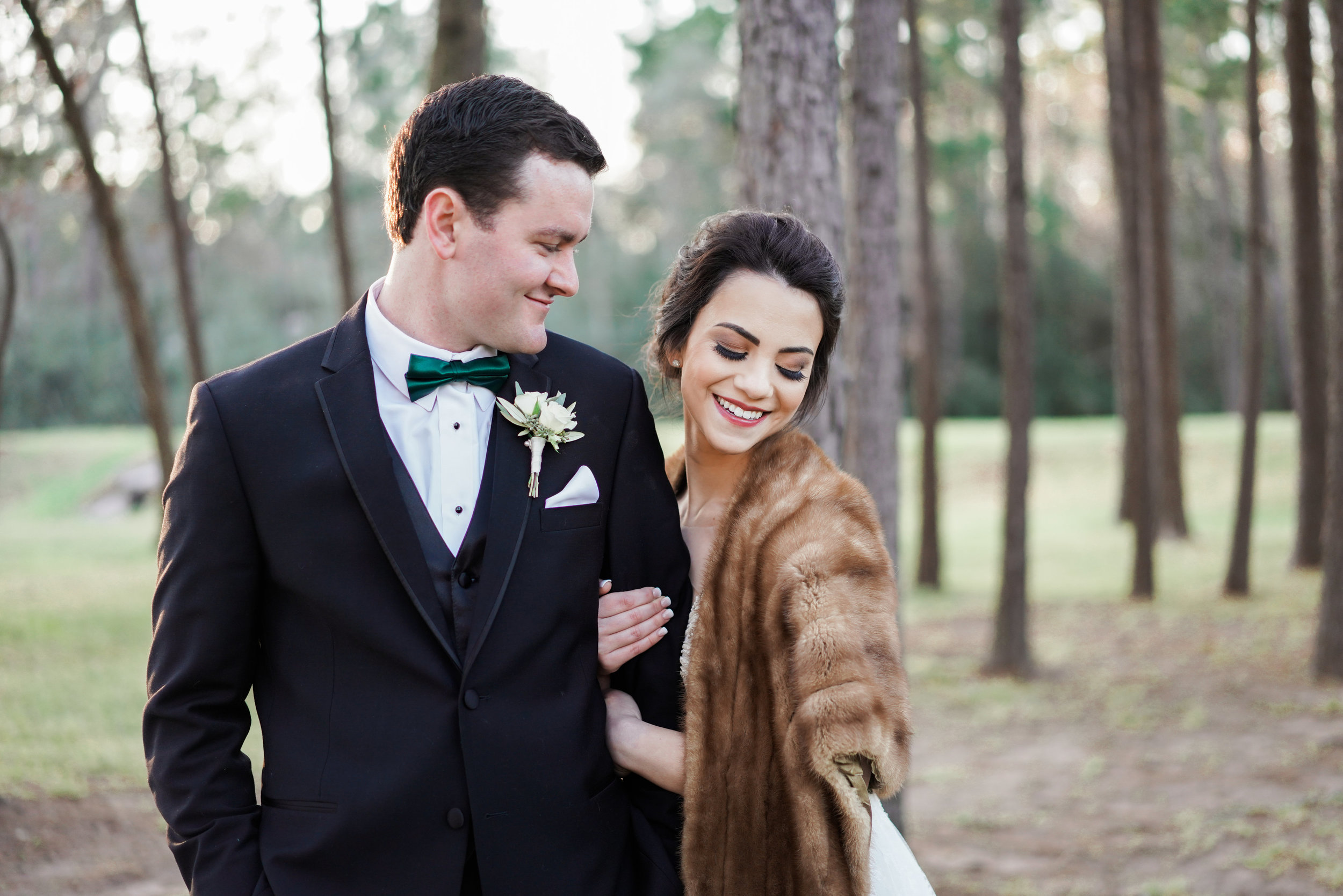 The Springs Event Venues- Lake Conroe wedding photographer. The perfect winter wedding. Houston and Austin wedding photographer. Love the fur coats and the woodland setting.
