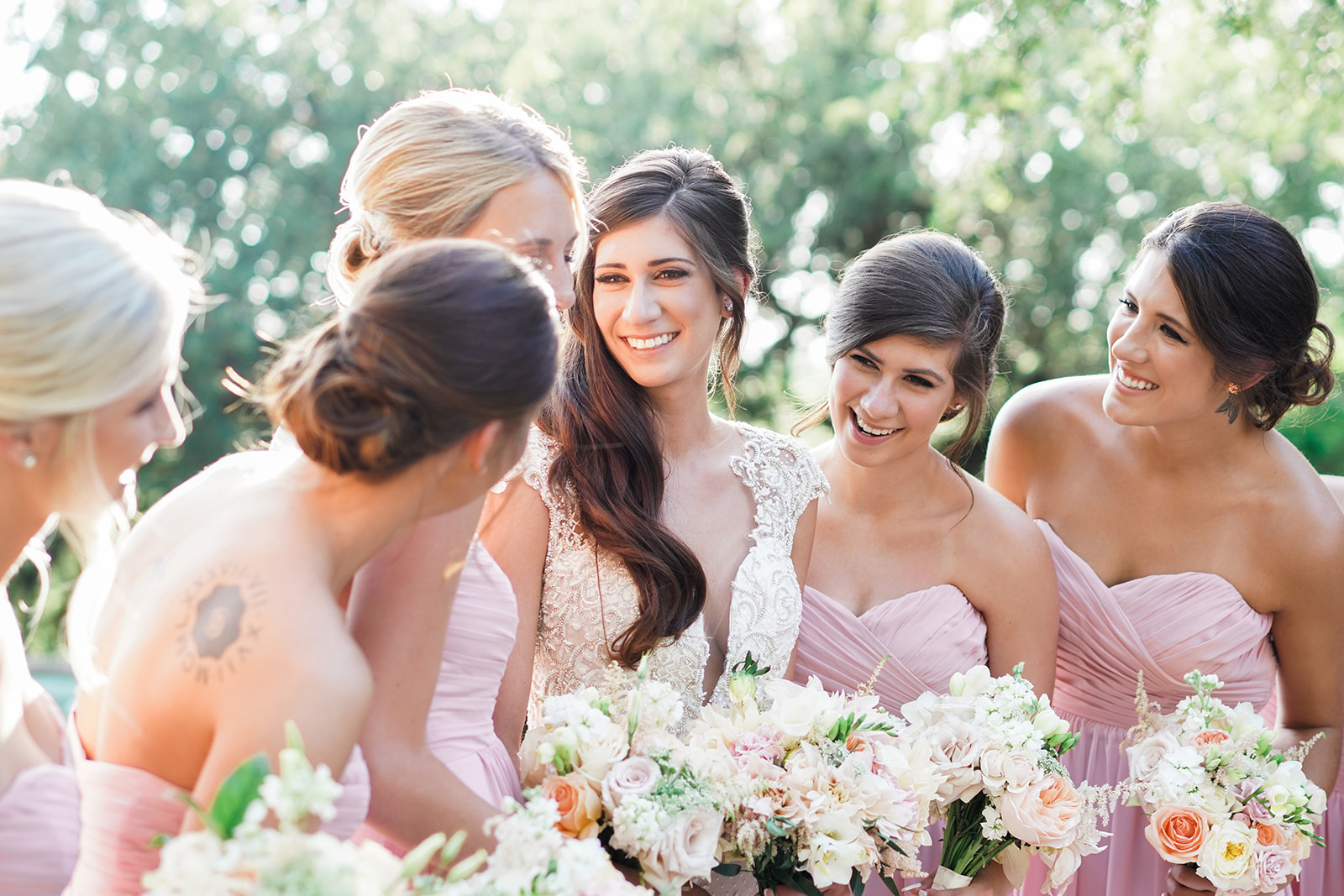 Bridesmaids at the McNay Art Museum Wedding. San Antonio Wedding Photographer.