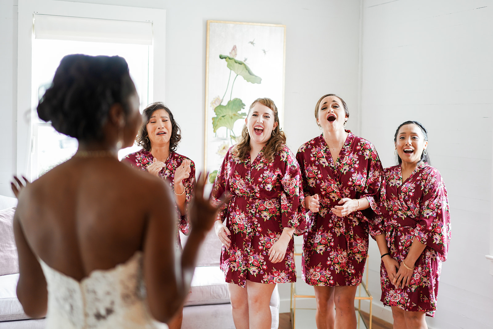 The Ivory Oak Wedding Venue in Wimberley, TX. Austin fine art wedding photographer. Ivory Oak Wedding Photos. Ivory Oak wedding photographer. First look with her bridesmaids!