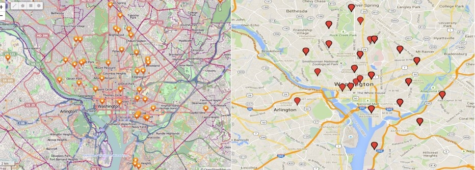 Pinpoints of schools (left) vs. zip codes (right) of WINNERS Lacrosse Participants
