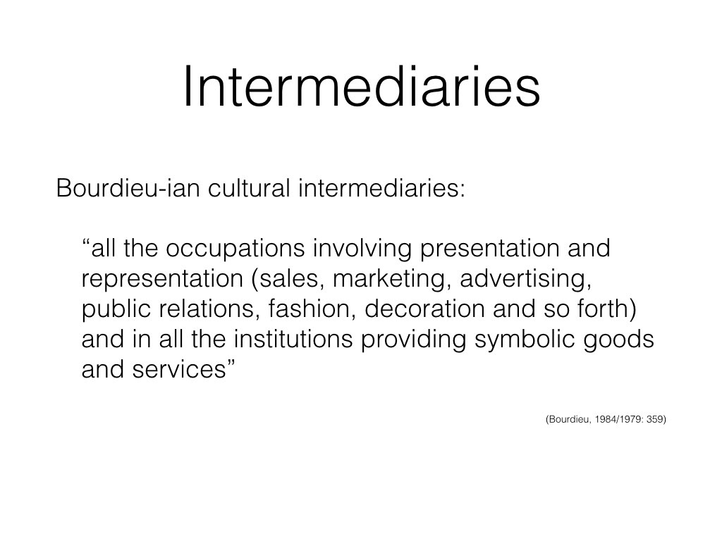 Ever since Bourdieu termed the phrase new cultural intermediaries, academics have sought to understand the role of different occupations involved in the presentation and representation of symbolic goods and services. Bourdieu didn't give a lot of detail about cultural intermediaries and academics have done that thing we're good at, filling in the gaps in various different ways and creating a rather confusing field.