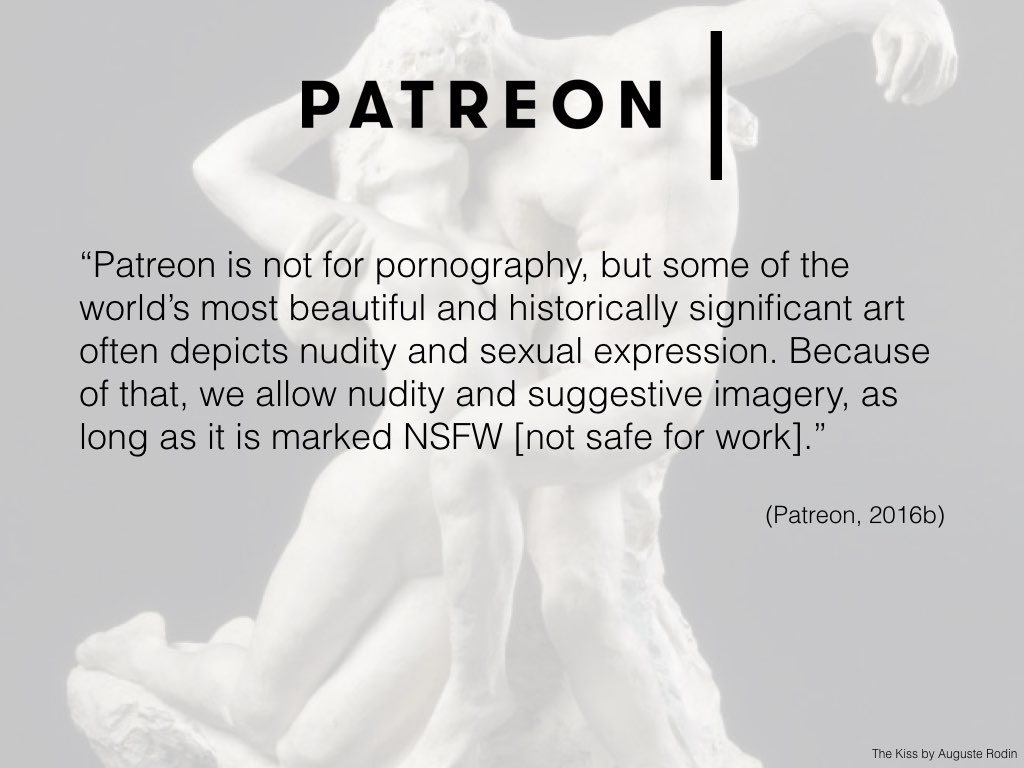 Signalling their commitment to creators, Patreon's community guidelines state: