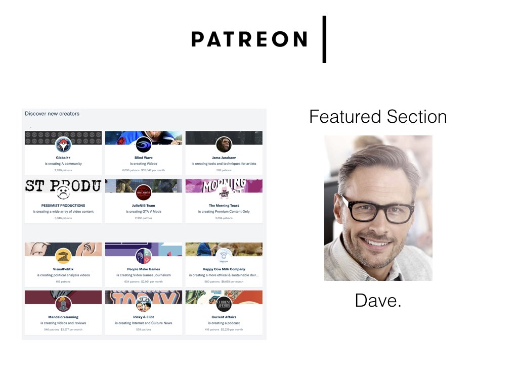 The 'featured' pages on patreon.com offer users a selection of creators to explore. The list is updated periodically, but there is no individualisation in what users see. The process of generating this section involves a simple procedural algorithm which is executed by a member of Patreon staff: Dave. It begins when creators nominate themselves to be featured by completing a simple web form, then Dave removes artist-creators producing adult material, checks for fake or abandoned accounts and then adds them to a database which updates the featured page.   Even though this curation is being undertaken directly by a human, there are no artistic value judgements made about the quality of a creator's work, their significance or their potential. The overriding principle is to ensure that this prominent part of the website does not include content which may deter users, while exposing creators to new audiences. Here we can begin to see human behviours starting to become aligned with web operational logics.