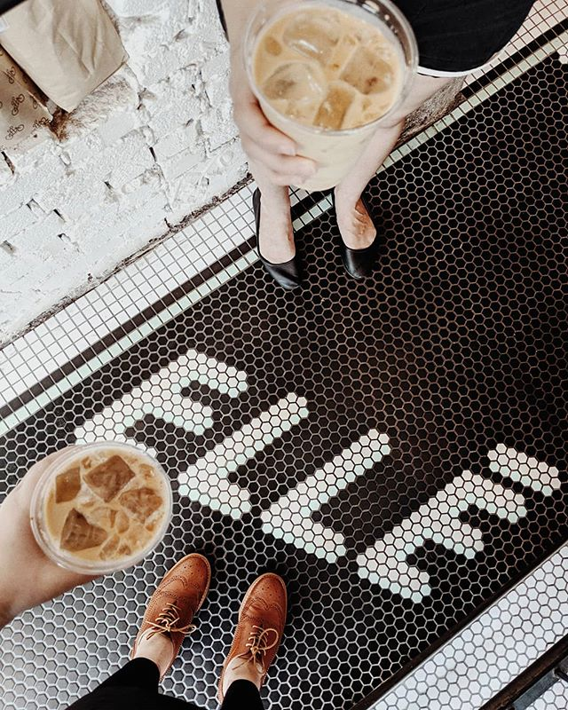 iced lattes & cute tile 👌 also a shout-out to @a_m_diamond my best friend & true confidant who grounds and supports me 💛💛💛 #sisters#eatatelle#elledc#lookdown#handsholdingthings#icedcoffee#mybeigelife#dceats#coffeevibes#coffee#dailycortado#selfeet#travelingfeet#coffeegram#cupinframe#theeverydayproject#ig_coffee#coffeeshopcorners#myDCcool#exposeddc#washingtondaily#dccitystyle#tileinspiration#ihavethisthingwithtiles