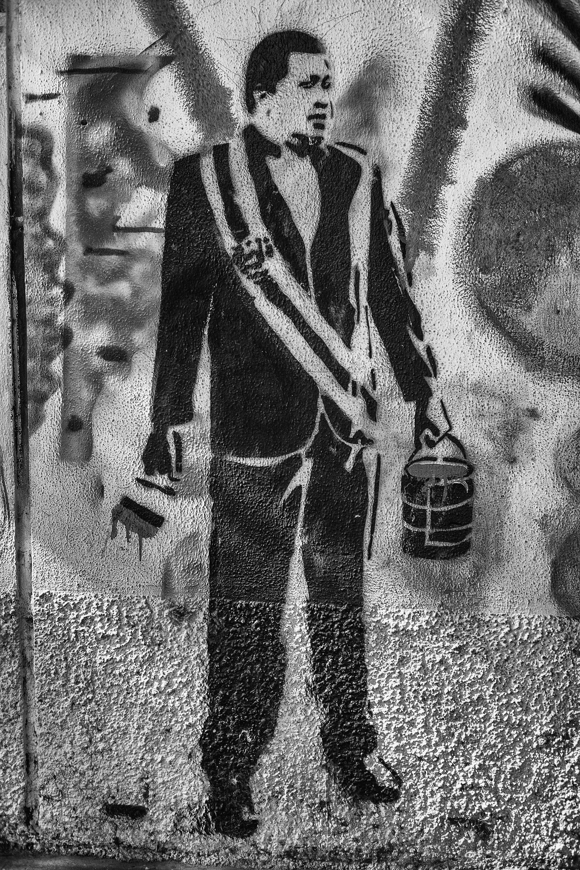 Wall with graffiti of Chavez, in the Avenida Libertador (Liberator Avenue). Caracas, 16/07/14.