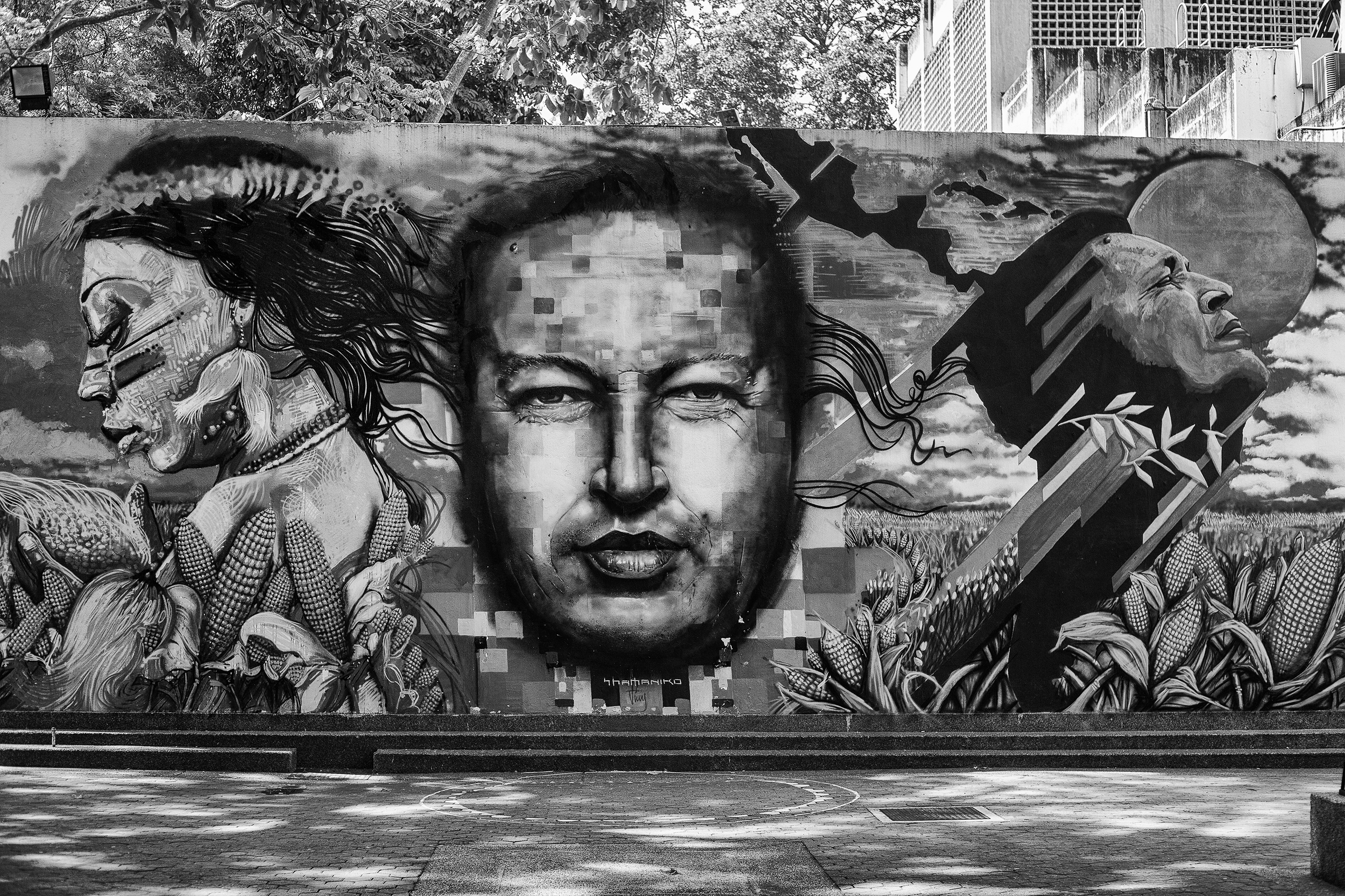 Wall with graffiti of Chavez, in Bellas Artes. Caracas, 03/07/14.