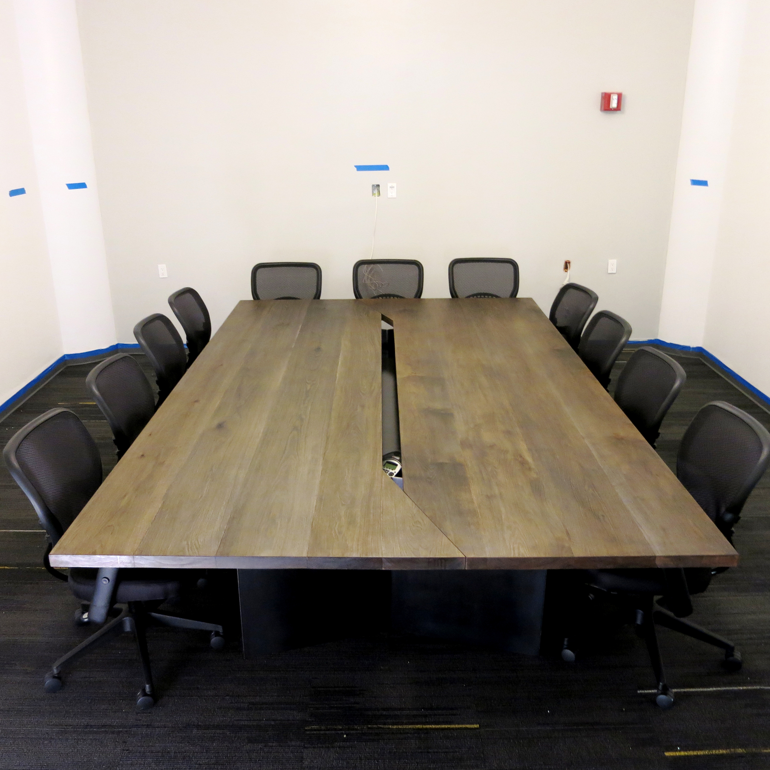 Main Conference Room Table: Fumed Oak, Steel Base, Produced by Withers & Grain, Brooklyn