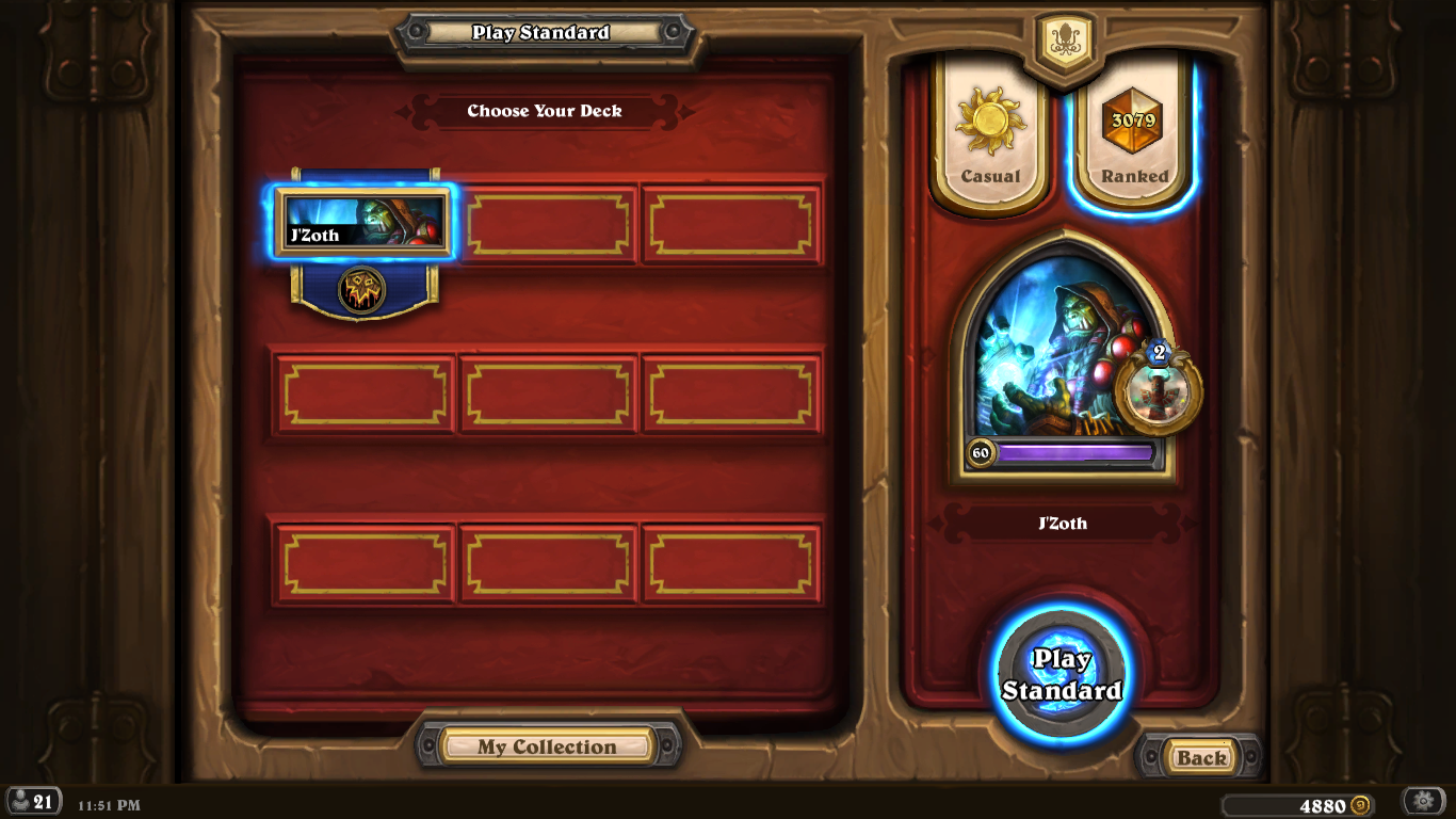 Hail and Well Met!   MrJones here - happy to announce that I have finally made it to legend rank! Here's my story.  I started playing Hearthstone in June 2015 and instantly fell in love with the game. One of my best seasons was actually my second season when I made it to rank 2, but then it took me quite a bit to get back up in the ranks. For the past year though I have consistently made it to rank 5, with my second ever rank 2 finish last December. This month I hit 5 on day 3 with aggro rogue and warrior, and even rank 2 on day 7, but I kept flip flopping around. I woke up at 4:45 this morning at rank 5 with 3 stars, and hit the grind until 11:45 tonight when I beat a pirate warrior (fitting) with my jade N'Zoth shaman to finally hit legend! It feels really good to know that with enough time, if you hit 5 you can hit legend. Thank you so much, Dan and FRID, for all the tips I learned on the show. Looking forward to showing off my new card back in the HC tourneys!  MrJones