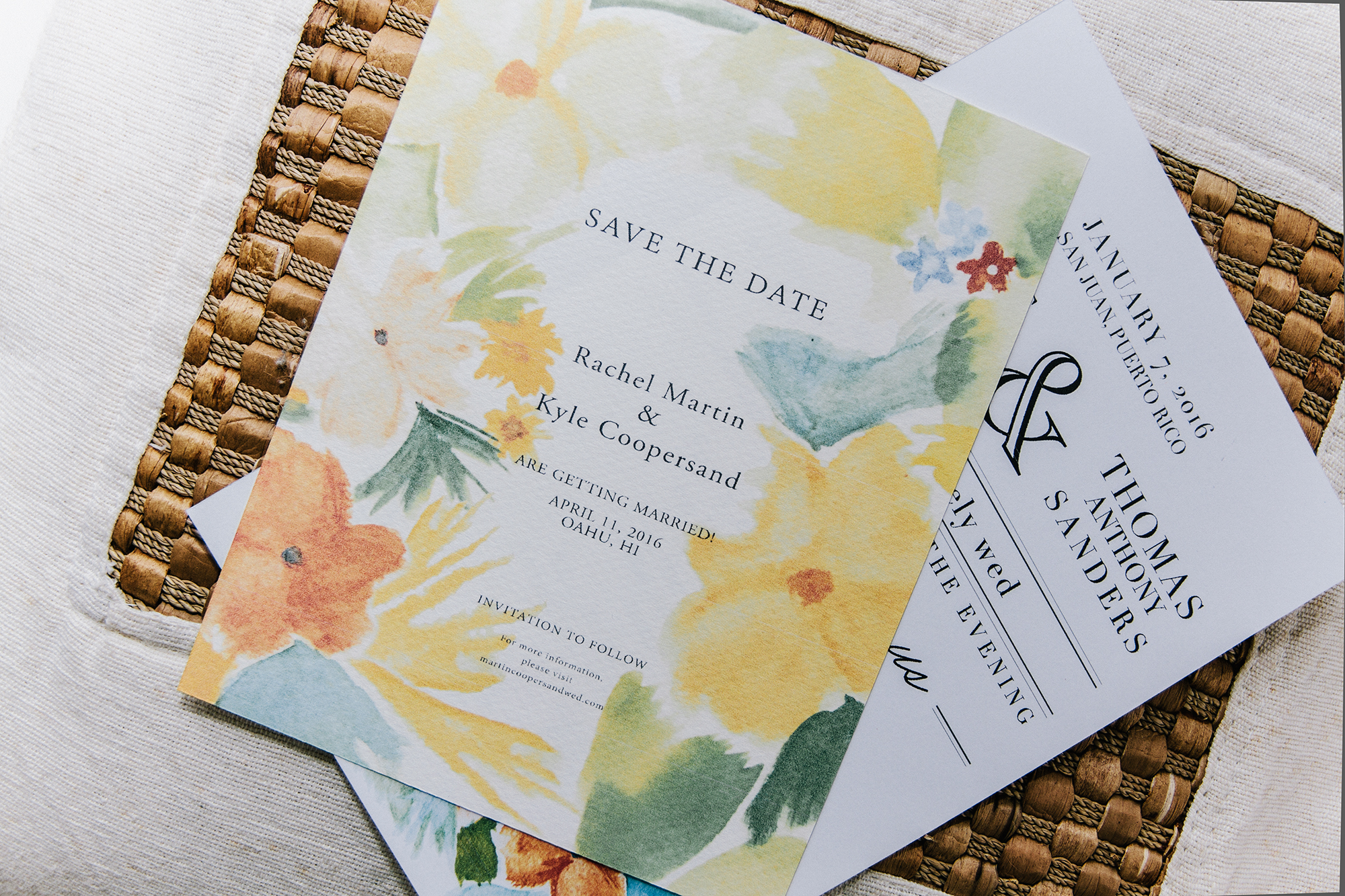 """Patricia completely captured the mood of our wedding in Oahu - bright & happy. We received many responses as to how cool the handmade paper texture feels - definitely one of a kind and rarely seen!""  - Rachel Martin-Coopersand"
