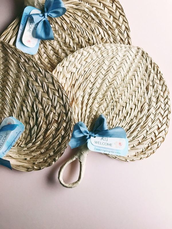 custom tags on ceremony fans - The blue bottom paper is Hanji (origin: Japan), that I custom-hand-dyed. The silk ribbons are from Anastasia Mika, and the