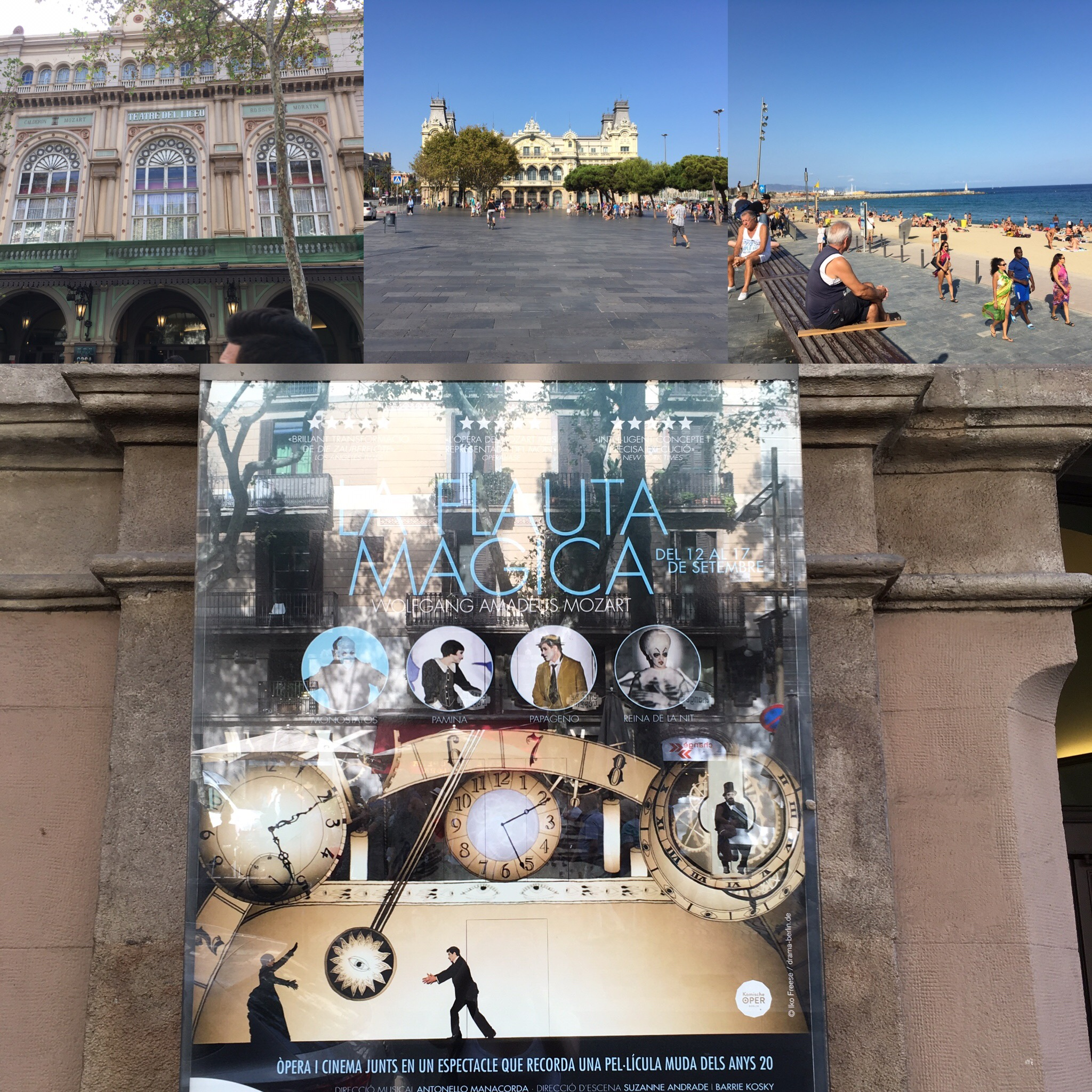 """A few photos from my first day, including the outside of the Liceu (upper left), the beach (I bet you can spot it), and the """"La Flauta Magica"""" poster."""