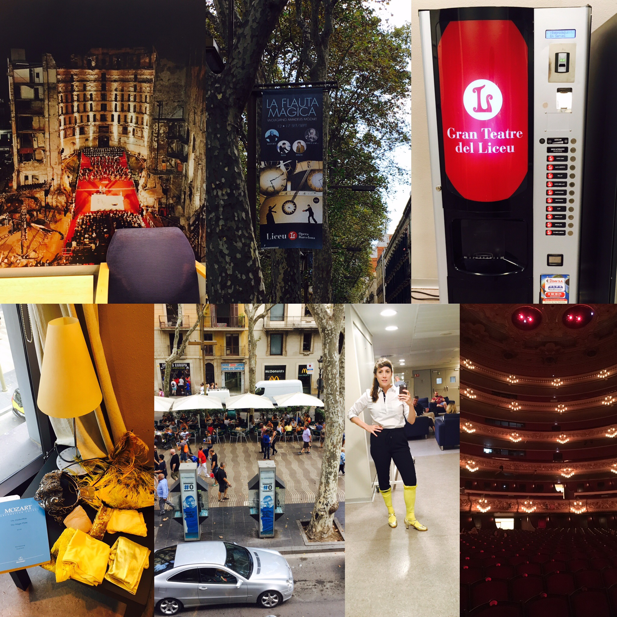 A few photos from my second day, including (from left to right)a snapshot of the poster of the burnt down Liceu, the ad for the show on La Rambla, the Liceu vending machine, my Papagena accoutrements, the view of La Rambla from my dressing room, a shot of me in my normal clothes with Papagena's socks and shoes (was trying to start a new fashion trend), and a photo inside the hall.