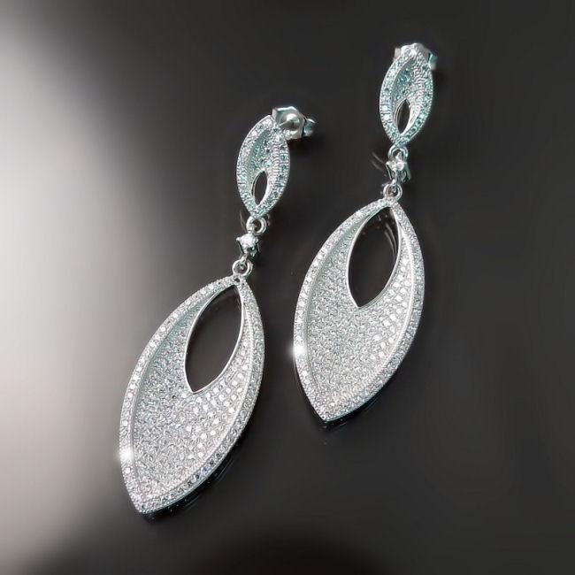 Modern CZ Bridal Earrings