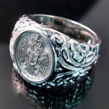 Men's Serbian Eagle Ring (ZD-1425) Muski prsten sa srpskim grbom
