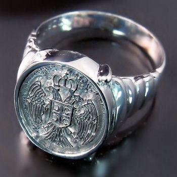 Serbian Eagle Coat of Arms Ring ZD-524 Dvoglavi orao prsten
