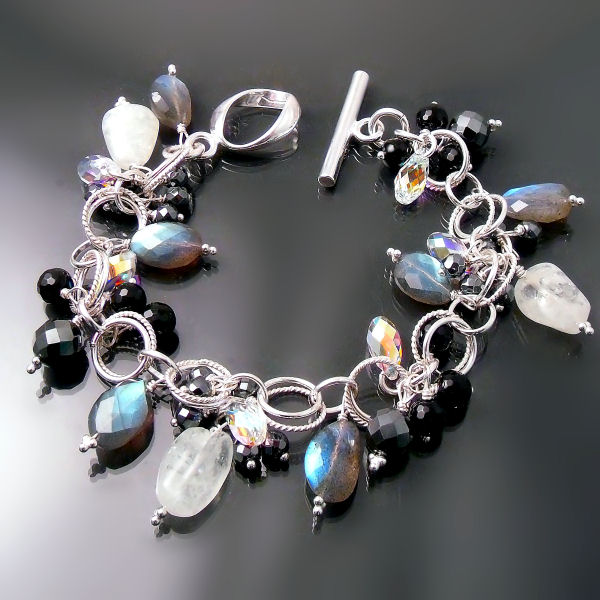 Gemstone bracelet with labradorite, onyx, hematite, aquamarine, and Swarovski crystals
