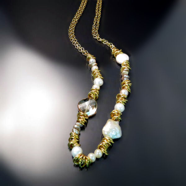 Designer jewellery necklace with pearls, Swarovski crystals and gold plate silver