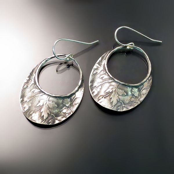 Designer Jewellery leaf motif sterling silver earrings