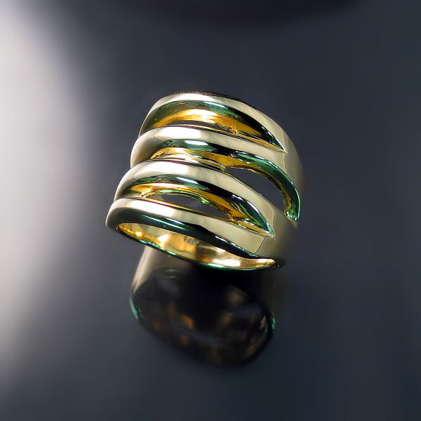 Modern design chunky wide band 14K gold ring