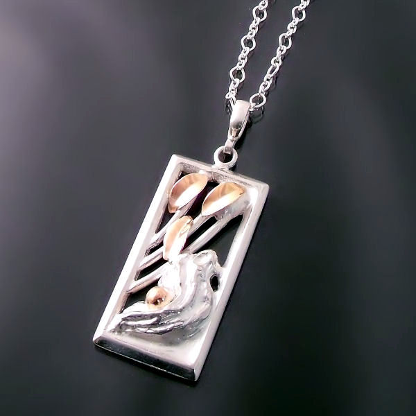 One-of-a-kind wearable-art pendant handmade in sterling silver and gold