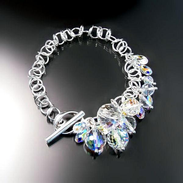 Modern Swarovski crystal bracelet - sparkly designer jewellery