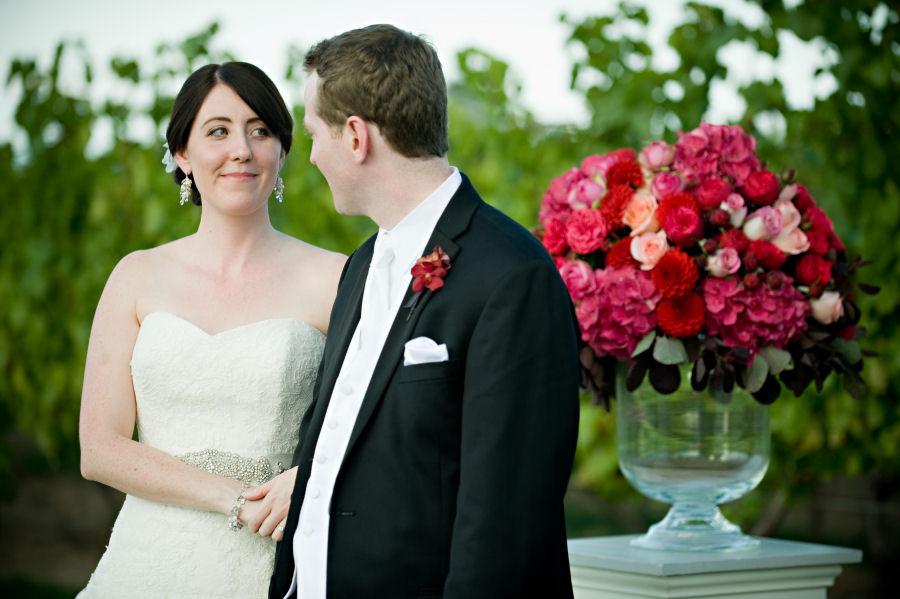cascade bridal earrings on beautiful Toronto bride