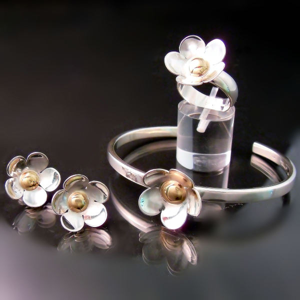 Two tone designer flower jewellery at Hamilton Burlington Jewellers Zoran Designs