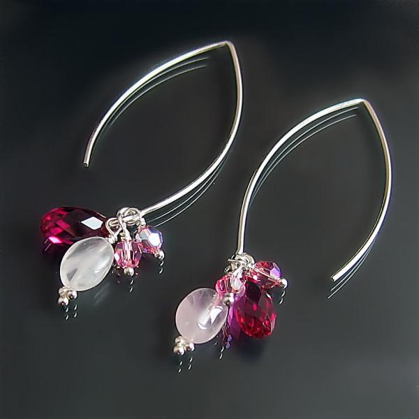 Pink Rose Fuchsia jewellery designs: custom dangle earrings handmade in sterling silver