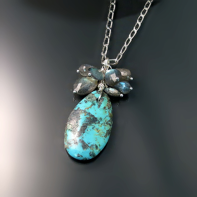 unique turquoise jewelry artisan boho chic turquoise necklace with labradorite