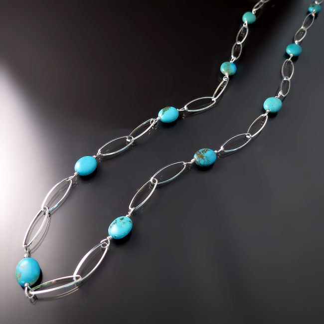 elegant turquoise jewelry long sterling silver turquoise necklace