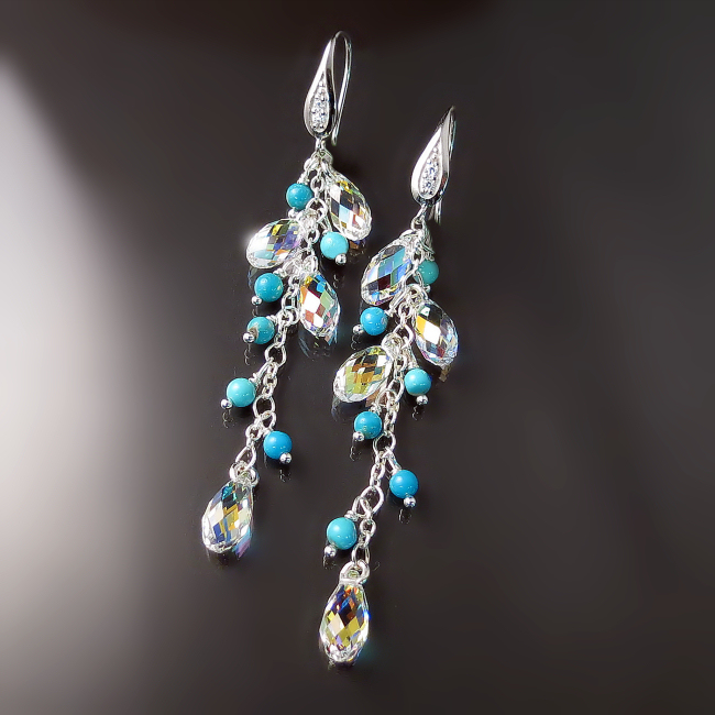 beautiful turquoise jewelry long sparkly turquoise earrings with crystals