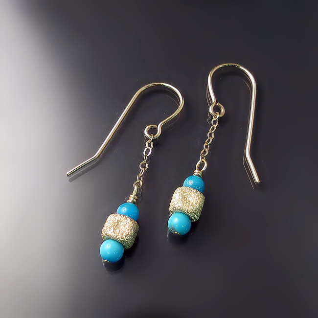 gold turquoise jewelry dangly 14K yellow gold earrings with turquoise