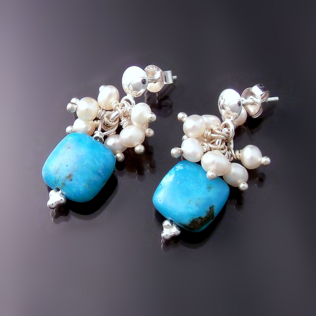 turquoise jewelry earrings with turquoise and white pearls