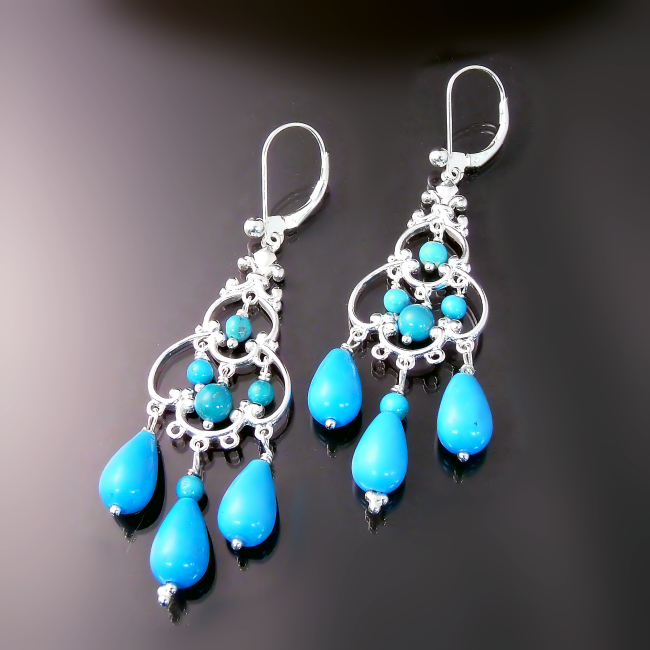 turquoise jewelry elegant chandelier earrings with turquoise gemstones