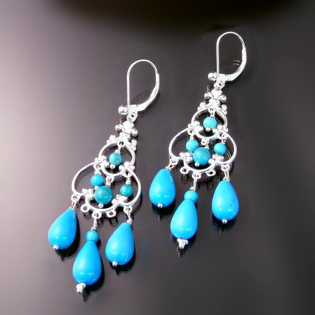 turquoise jewelry elegant chandelier earrings with turquoise gemstones