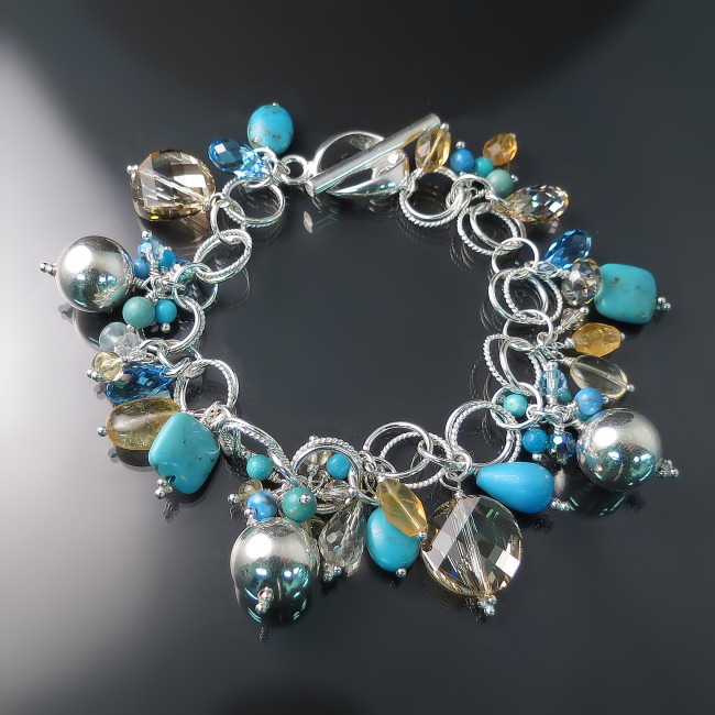 turquoise jewelry handmade gemstone bracelet in sterling silver with gemstones