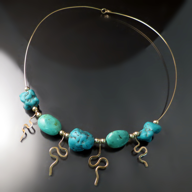 turquoise necklace in 14K yellow gold unique handmade jewelry