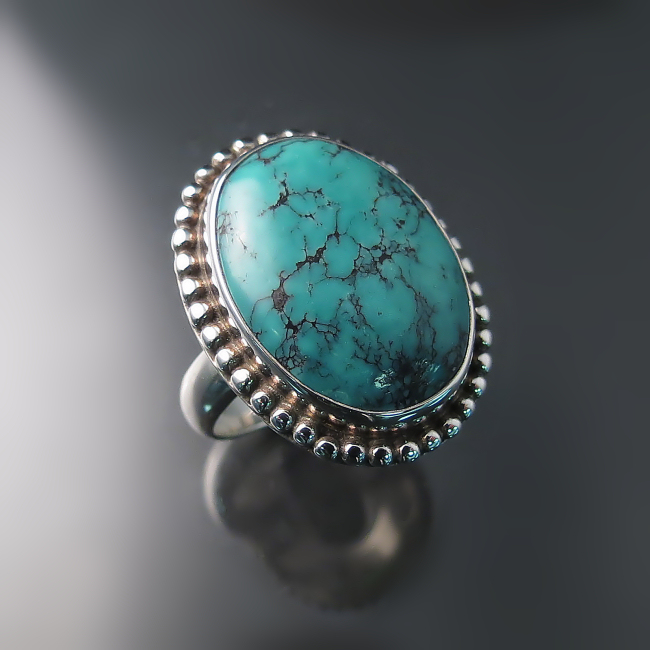turquoise ring sterling silver vintage style jewelry