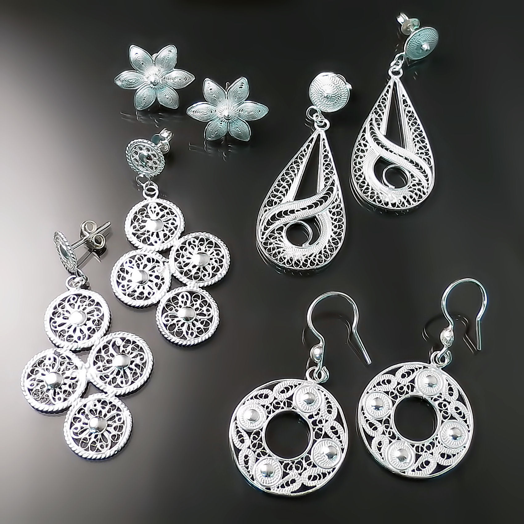 silver filigree jewellery earrings
