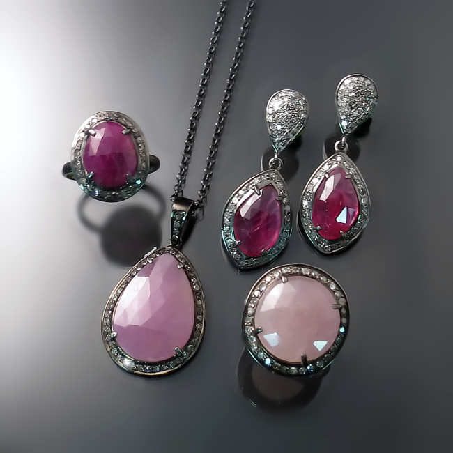 pink sapphire jewelry rings earrings pendant