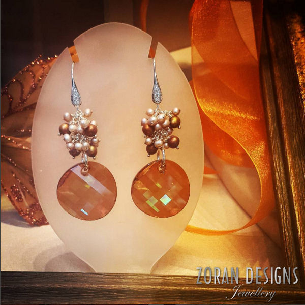 Statement earrings with Swarovski crystals and pearls in warm, fall tones