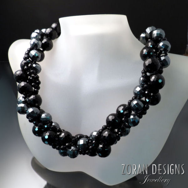 Black Statement Necklace: onyx and hematite