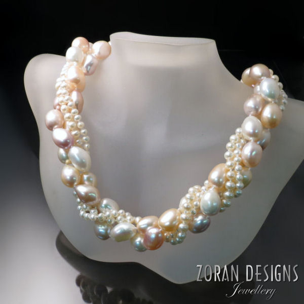 Pearl Statement Necklace: freshwater pearls in peachy pink and ivory