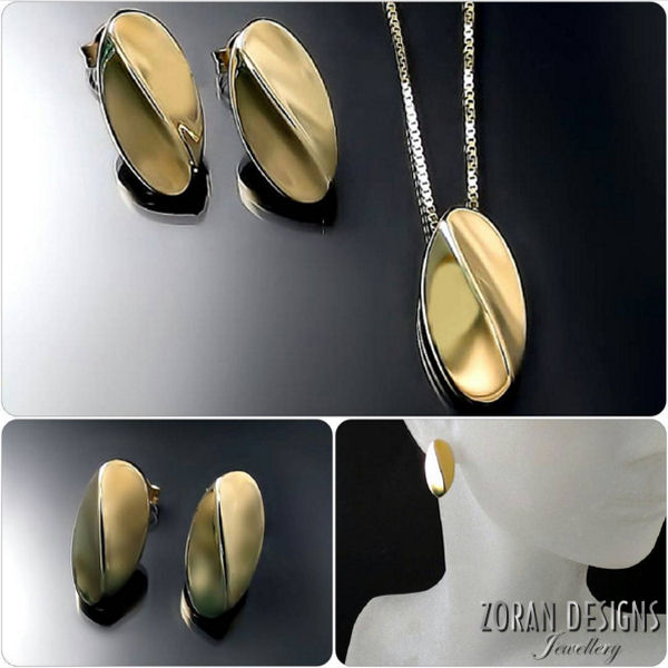 Modern Designer Jewelry: sculptural gold pendant and earrings