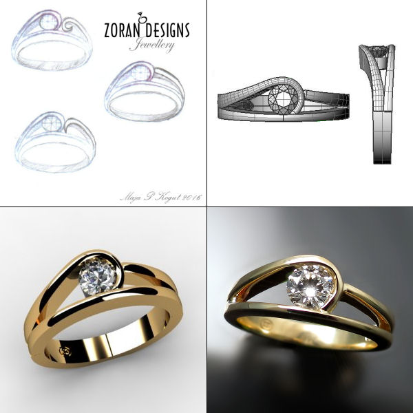 Custom jewellery design: from concept sketches to complete ring