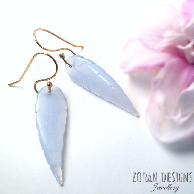 Blue chalcedony leaf design earrings