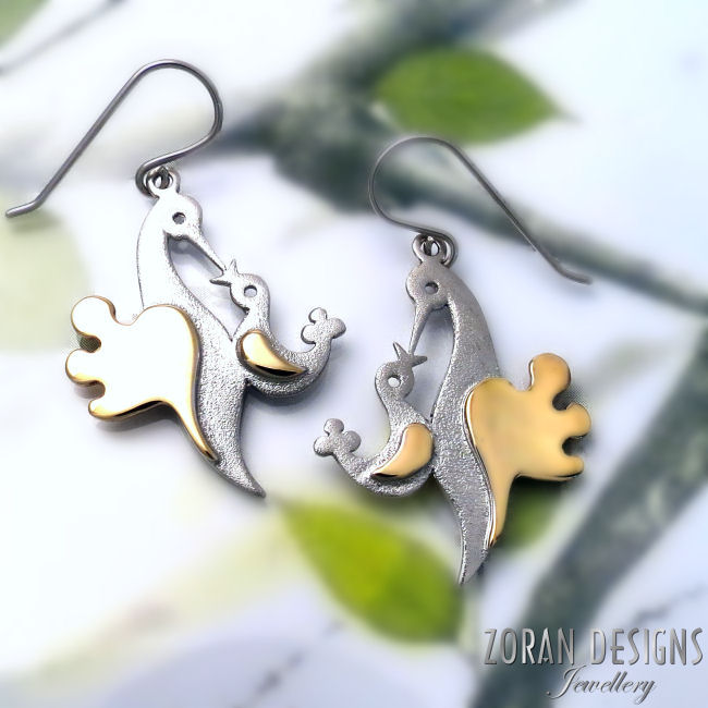 Mama and baby bird earrings