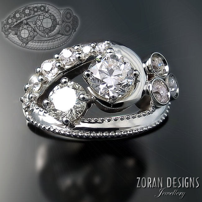 One of a kind ring with repurposed diamonds
