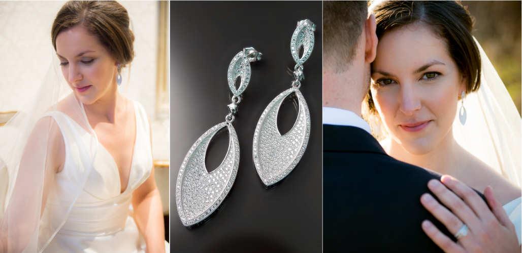 Real bride Hilary wearing elegant CZ bridal earrings.  SHOP ONLINE