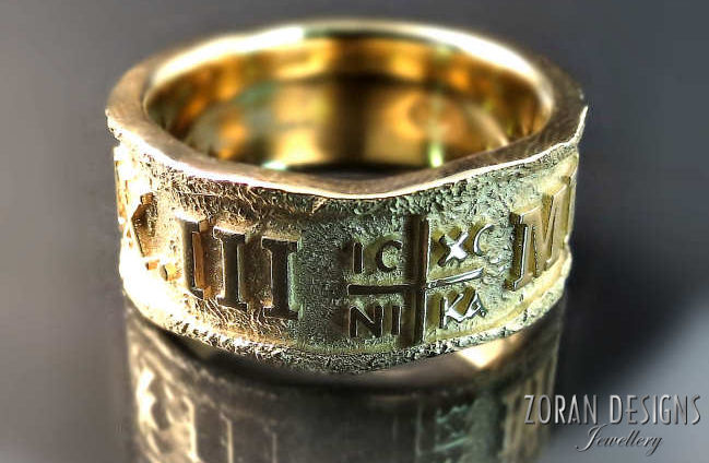 Old world inpired men's wedding ring with Greek cross and Roman numerals